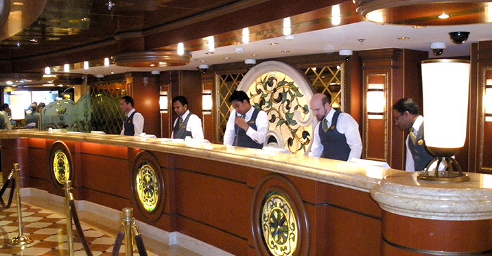 Front desk on a cruise ship
